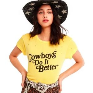 "Wildfox ""Cowboys do it Better"" burnout tee NWT M"